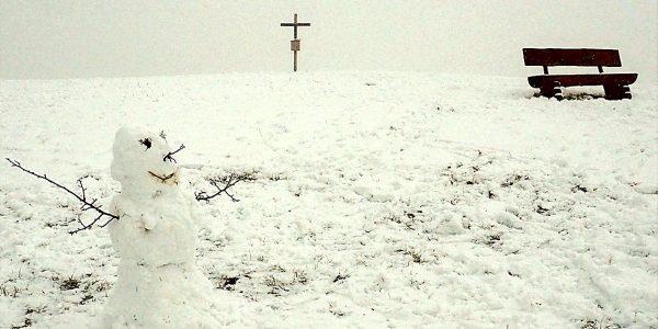 Winter im Harzvorland - Blick zum Gipfel des Langenbergs